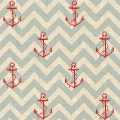 Drift Away Red Anchors on Blue Chevron Drift Away, Windham Fabrics, Blue Chevron, Modern Fabric, Sea Foam, Book Illustration, Sewing Patterns, Kids Rugs, Quilts