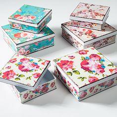 Set of 2 vintage rose square tins