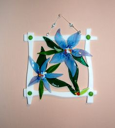 Fused Glass Flowers Leaves Original Wall Hanging Wall by SophieRR, $184.00