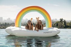 Larger than life and ready for your favorite VIPs to blissfully relax on a cloud of air, under a magical rainbow. More than a float, The Rainbow Cloud Daybed is