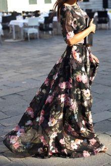 Flower Print Half Sleeve Maxi Dress