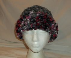 Handmade Crochet Cloche 1920's Flapper Inspired Hat - Gray Chenille with Pink Brim - Ruffle Brim - Rose Flower - Winter Beanie - Christmas by MyLifeIsAHighway on Etsy