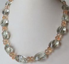 Jewelry Handmade Necklace Green Amethyst  Citrine by Smokeylady54