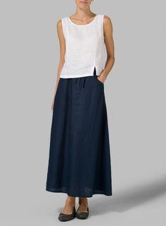 Linen High Rise Long Skirt Boho Style d87a5817bc