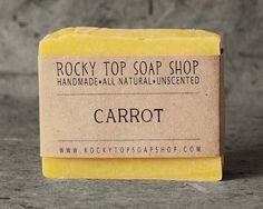 Rocky Top Soap Shop (eatsy) Carrot Soap - All Natural Soap, Handmade Soap, Cold Process Soap, Unscented Soap, Vegan Soap Soap For Oily Skin, Carrot Soap, Unscented Soap, Savon Soap, Soap Shop, Neutral, Homemade Facials, Homemade Scrub, Homemade Products