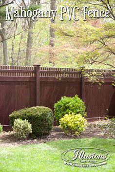 Fence Ideas That Add Curb Appeal. Incredible Mahogany PVC VInyl Fence Panels from Illusions Vinyl Fence Are a Perfect Landscaping Idea for Your Backyard or Front Yard Fencing Panels. #fence #fenceideas #backyardideas #landscaping