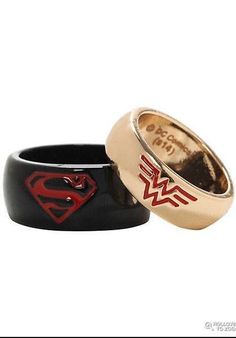 HIS 10 HERS 9 large DC COMICS WONDER WOMAN & SUPERMAN wedding RING band gift SET #DCComics #Band