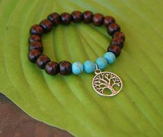 Yogi inspired wood bead bracelet with tree of by TeoMaeDesigns