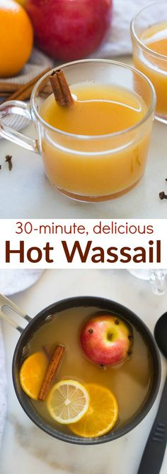 Hot Wassail is one of my favorite easy holiday drinks. A delicious warm cider drink that combines the flavors of orange and apple with cinnamon and spices. | tastesbetterfromscratch.com via @betrfromscratch