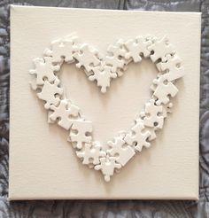 Beige Heart Jigsaw Picture on Canvas £10.00