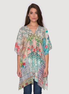Johnny Was Collection Printed Silk Tribal Waist Tie Poncho