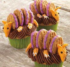 Cute armadillo cupcakes. I think their called armadillos.