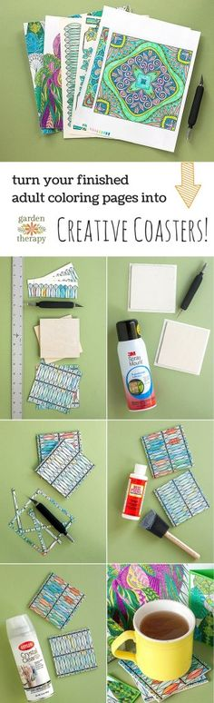 Turn those gorgeous finished coloring pages into something useful - DIY Coasters