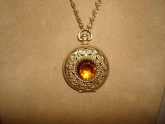 "Vintage Avon LOCKET Pendant Necklace ~ 1-1/2"" Wide Victorian Style with Amber Stone and 30-1/2"" Chain by PastPossessionsOnly on Etsy"
