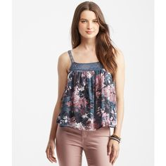 Aeropostale Tokyo Darling Floral Swing Tank featuring polyvore women's fashion clothing tops grey floral grey tank top strappy top floral tops holiday tops floral tank top