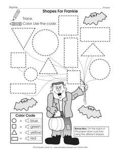 Search: Clown and shape (Kindergarten, worksheet) - The Mailbox Fun Math Worksheets, Halloween Worksheets, Shapes Worksheets, Halloween Themes, Preschool Halloween, Diy Halloween, Kindergarten Centers, Preschool Math, Kindergarten Classroom