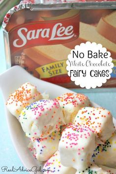 So delicious No Bake Fairy Cakes Recipe using Sara Lee® All Butter Pound Cake. Perfect for fairy party So delicious No Bake Fairy Cakes Recipe using Sara Lee® All Butter Pound Cake. Perfect for fairy party Brownie Desserts, Easy No Bake Desserts, Köstliche Desserts, Delicious Desserts, Yummy Food, Fast And Easy Desserts, White Desserts, Bite Size Desserts, Easter Desserts