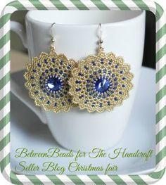 Filigree Swarovski Earring Sapphire Crystal Dangle by BetweenBeads Beaded Earrings, Beaded Jewelry, Crochet Earrings, Handmade Jewelry, Hand Tats, Purple Lilac, Beading Tutorials, Seed Beads, Swarovski