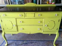 Yellow Painted Antique Buffet