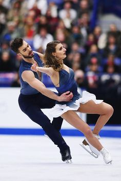 Gabriella Papadakis and Guillaume Cizeron of France compete in the Ice Dance Free Dance during day 4 of the European Figure Skating Championships at Ostravar Arena on January 2017 in Ostrava,. Get premium, high resolution news photos at Getty Images Pairs Figure Skating, Figure Ice Skates, Figure Skating Dresses, Gabriella Papadakis, Gym Leotards, Baseball Training, Ice Skaters, Ice Dance, Ice Princess