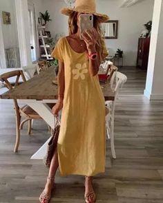 Floral Printed Summer Crew Neck Maxi Dress Dresses Vintage Shirts, Vintage Tops, Vintage Dresses, Vestidos Retro, Vestidos Maxi, Bleu Violet, Short Sleeve Dresses, Dresses With Sleeves, Short Sleeves