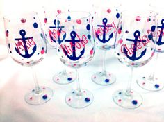 Bridesmaids anchor wine glass 8 Wedding party by WaterfallDesigns, $88.00