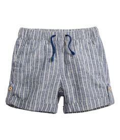 Linen-blend Shorts | Dark blue/striped | Kids | H&M US