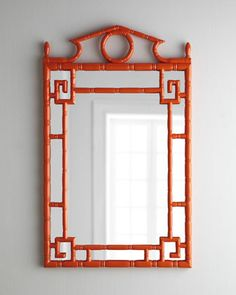 "Neiman Marcus MIRROR IMAGE Tangerine ""Pagoda"" Mirror 