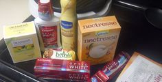 Contents of the Sugar 'n Spice VoxBox:  Colgate Optic White; Vaseline Spray & Go Moisturizer; Dickinson's Original Witch Hazel; belVita and NECTRESSE.  @OpticWhite #BrilliantSmile  @VaselineBrand #SprayandGo  #DickinsonsWitchHazel  @belVita #BreakfastBiscuit  #NECTRESSE    I received these products complimentary from Influenster for testing purposes.