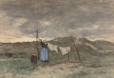 """Woman with a clothesline in the dunes ""Vrouw bij een waslijn in de duinen"" (1848-1888) By Anton Mauve, Dutch realist painter, a leading member of the Hague School (1838-1888) watercolor on paper; 27.5 x 40.3 cm; 10.83 x 15.87 in © Rijksmuseum Amsterdam  Gift of Mr. and Mrs. Drucker Fraser, Montreux. 1910 Accession Number: SK-A-2448"