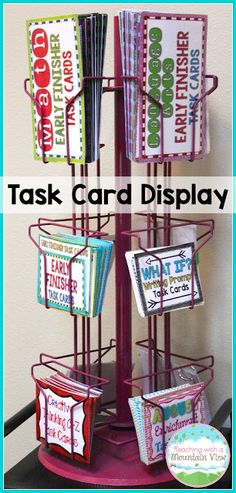 Use a card storage rack to house task cards- perfect for fast finishers!