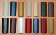 Craftsman era paints  First Row is:  2030 Buttermilk   2009 Union Blue   2025 Goldenrod Yellow   2019 Linen White  2031 Fenwick Yellow   2013 Windsor Chair Green   2011 Tinderbox Brown  Second Row:   2006 Quaker Green  2010 Brownstone  2034 Candlelight  2002 Confederate Red  2003 Cupboard Blue  2021 Olde Brick Red   2033 Tavern Yellow
