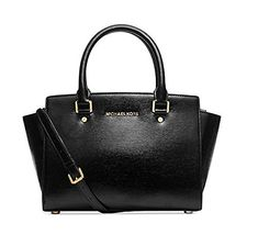 Women's Top-Handle Handbags - Michael Kors Medium Selma Patent Leather Satchel in Black *** Continue to the product at the image link.