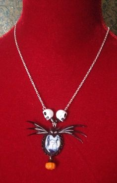 Jack and Sally The Nightmare Before Christmas Inspired Cameo Pendant Necklace on Etsy, £7.00