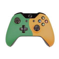 Custom Xbox One Controller  Wireless Glossy  Half-Emerald Green-And-Half-Saffron Yellow