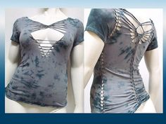 SALE!!! XLARGE - Womens/Junior Tie Dyed Blue and Grey Top, Cut and Weaved, Shredded Wear