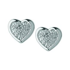 Links of London Silver Diamond Pave Heart Studs - £160.00