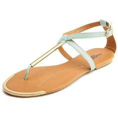 Metallic T-Strap Flat Sandal ($18) ❤ liked on Polyvore