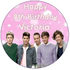 """One Direction PERSONALISED 7.5"""" Round Birthday Cake Topper - PLEASE SEND US A NAME AND AGE VIA 'GIFT MESSAGE' OR 'CONTACT SELLER' OPTION - Made from sugar icing and printed with edible ink, these toppers are a great way to """"top"""" your cake . Each topper has a minimum 'best before' of 6 months from purchase.  - http://irishcakesupplies.com/wp-content/uploads/2013/12/51pSitTjwIL.jpg - #75, #Birthday, #Cake, #Direction, #One, #Personalised, #Round, #Topper"""