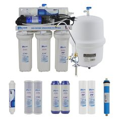 5 Stage Undersink Reverse Osmosis Drinking Water Filtration plus Extra Set of 4 Supreme Quality Replacement Filters Ro Water Purifier, Water Filtration System, Reverse Osmosis Water, Reverse Osmosis System, Under Sink, Drinking Water, Faucet, Filters, Water Bottle