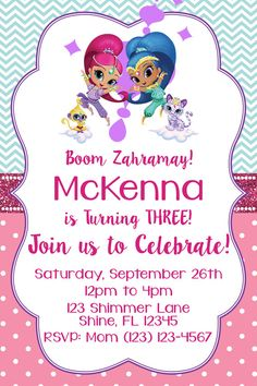 Shimmer and Shine Invitation  Matching Thank by mommydesign2026