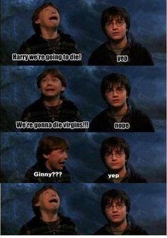 "Ron:""We're gonna die virgins!"" Harry:""Nope."" Ron:""Ginny???"" Harry:""Yep."" Ron: D:"