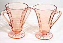 Depression Glass - Anchor Hocking - Block Optic - Pink Cream & Sugar