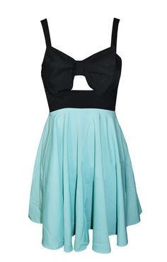 So CUTE! Front Hollow-out Black and Blue Sleeveless Beach Dress #Black_and_Blue #Beach #Dress #Summer #Fashion