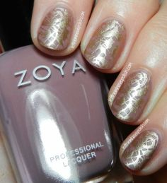 Zoya Brigitte- Stamped Nail Art Look with t&h This is Matteness! Shine-Killing topcoat