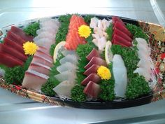 Sashimi (Raw Sliced Fishn Shellfish or Crustaceans)