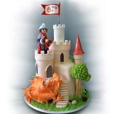 Castle Cake - love the dragon! Fondant Cake Designs, Fondant Cakes, Cupcake Cakes, Cake Icing, Knight Cake, First Communion Cakes, Fantasy Cake, Dragon Cakes, Cakes For Boys