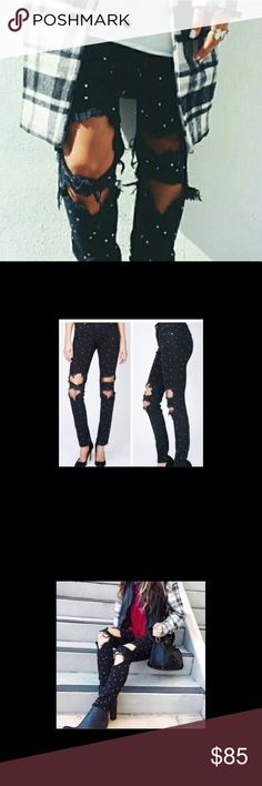 LF Studded Black Ripped Pants These pants are amazing!! They are covered in little metal round studs and look so much better in person. Turns any outfit into a more glam version. Unfortunately they no longer fit me because I gained weight! LF Jeans Straight Leg