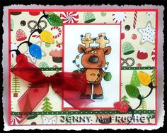 stamped, card, reindeer, Christmas, copic, holiday