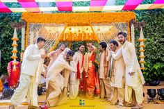 With Bright Hued Marigolds, This Setup By The Event Tale Is Decor Goals! Wedding Set Up, Post Wedding, Wedding Shoot, Dream Wedding, Couple Photography Poses, Candid Photography, Wedding Photography, Traditional Silk Saree, Traditional Outfits